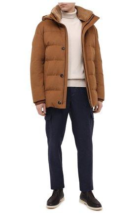 Мужская пуховик с меховой подкладкой LORO PIANA коричневого цвета, арт. FAL3549/VVIC   Фото 2 (Материал утеплителя: Шерсть, Пух и перо; Рукава: Длинные; Стили: Кэжуэл; Материал внешний: Шерсть; Кросс-КТ: Куртка; Мужское Кросс-КТ: пуховик-короткий; Длина (верхняя одежда): До середины бедра)