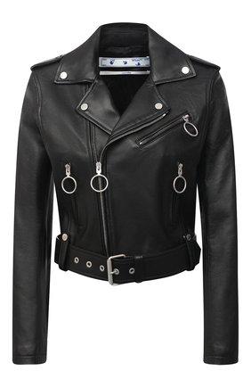 Женская кожаная куртка OFF-WHITE черного цвета, арт. 0WJG002R21LEA001 | Фото 1