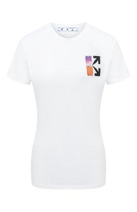 Женская хлопковая футболка OFF-WHITE белого цвета, арт. 0WAA040R21JER001 | Фото 1 (Принт: С принтом; Материал внешний: Хлопок; Длина (для топов): Стандартные; Стили: Кэжуэл; Рукава: Короткие; Женское Кросс-КТ: Футболка-одежда)