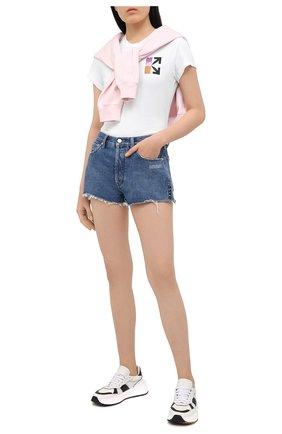 Женская хлопковая футболка OFF-WHITE белого цвета, арт. 0WAA040R21JER001 | Фото 2 (Принт: С принтом; Материал внешний: Хлопок; Длина (для топов): Стандартные; Стили: Кэжуэл; Рукава: Короткие; Женское Кросс-КТ: Футболка-одежда)