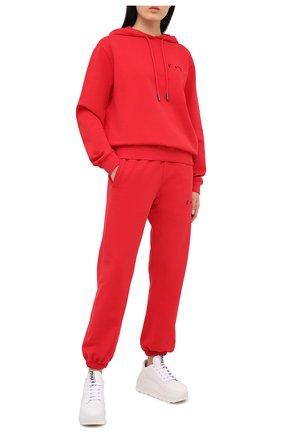 Женский хлопковое худи OFF-WHITE красного цвета, арт. 0WBB035R21JER004   Фото 2