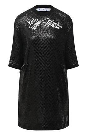 Женское платье с пайетками OFF-WHITE черного цвета, арт. 0WDB222R21FAB001 | Фото 1