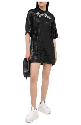 Женское платье с пайетками OFF-WHITE черного цвета, арт. 0WDB222R21FAB001 | Фото 2