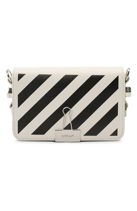 Женская сумка diag OFF-WHITE белого цвета, арт. 0WNA038R21LEA001   Фото 1 (Сумки-технические: Сумки через плечо; Материал: Натуральная кожа; Ремень/цепочка: На ремешке; Размер: mini)