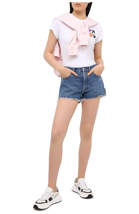 Женские джинсовые шорты OFF-WHITE синего цвета, арт. 0WYC002R21DEN001 | Фото 2