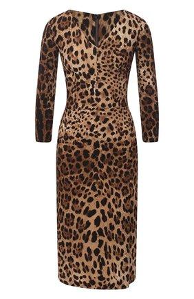 Женское платье из вискозы DOLCE & GABBANA леопардового цвета, арт. F6I6QT/FSRKI | Фото 1