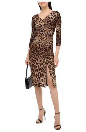 Женское платье из вискозы DOLCE & GABBANA леопардового цвета, арт. F6I6QT/FSRKI | Фото 2