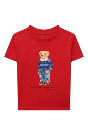 Детский хлопковая футболка RALPH LAUREN красного цвета, арт. 320799045 | Фото 1