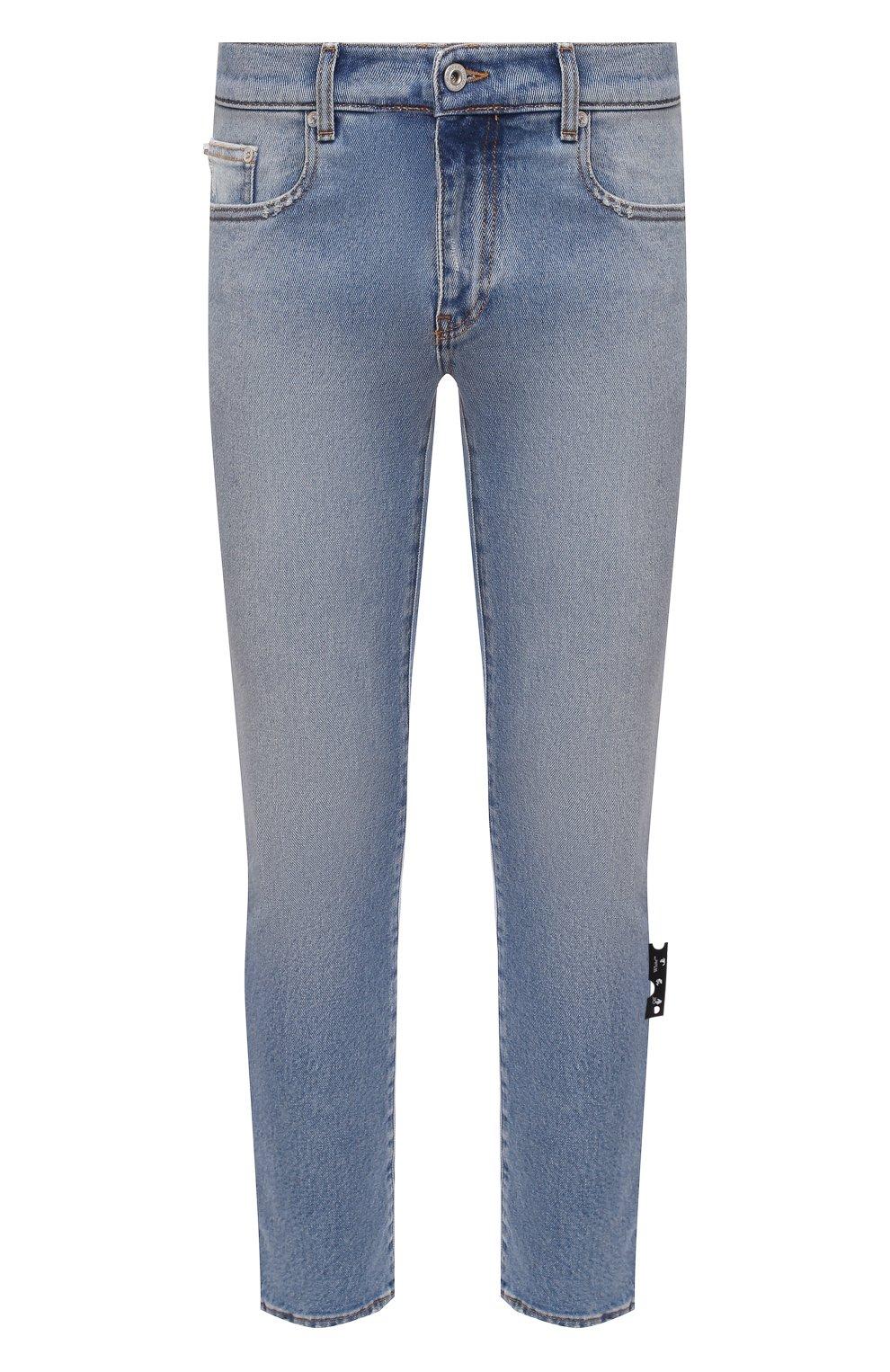 Мужские джинсы OFF-WHITE синего цвета, арт. 0MYA074R21DEN002 | Фото 1 (Силуэт М (брюки): Узкие; Кросс-КТ: Деним; Длина (брюки, джинсы): Стандартные; Стили: Гранж; Материал внешний: Хлопок; Детали: Потертости)