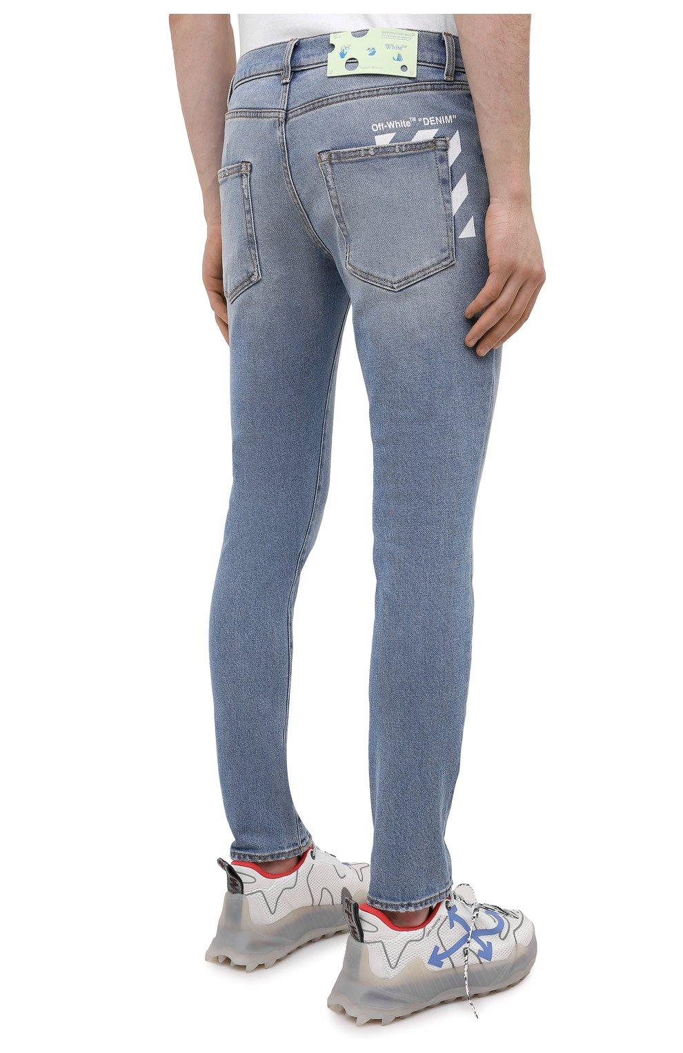 Мужские джинсы OFF-WHITE синего цвета, арт. 0MYA074R21DEN002 | Фото 4 (Силуэт М (брюки): Узкие; Кросс-КТ: Деним; Длина (брюки, джинсы): Стандартные; Стили: Гранж; Материал внешний: Хлопок; Детали: Потертости)