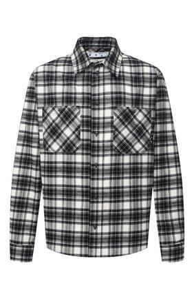 Мужская хлопковая рубашка OFF-WHITE черно-белого цвета, арт. 0MGA133R21FAB002   Фото 1