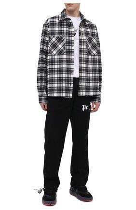 Мужская хлопковая рубашка OFF-WHITE черно-белого цвета, арт. 0MGA133R21FAB002   Фото 2