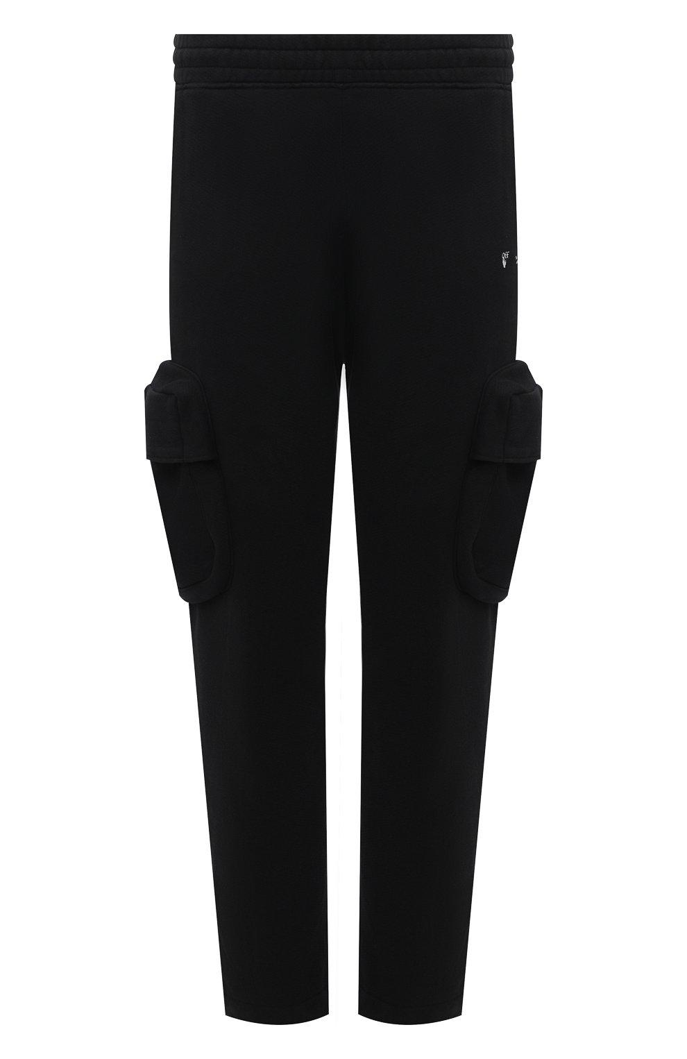Мужские хлопковые брюки-карго OFF-WHITE черного цвета, арт. 0MCH036R21FLE001 | Фото 1 (Силуэт М (брюки): Карго; Длина (брюки, джинсы): Стандартные; Случай: Повседневный; Стили: Гранж; Материал внешний: Хлопок)