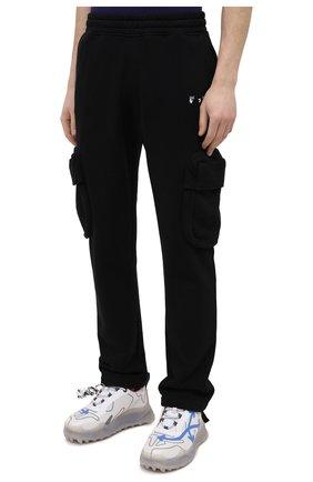 Мужские хлопковые брюки-карго OFF-WHITE черного цвета, арт. 0MCH036R21FLE001 | Фото 3 (Силуэт М (брюки): Карго; Длина (брюки, джинсы): Стандартные; Случай: Повседневный; Стили: Гранж; Материал внешний: Хлопок)