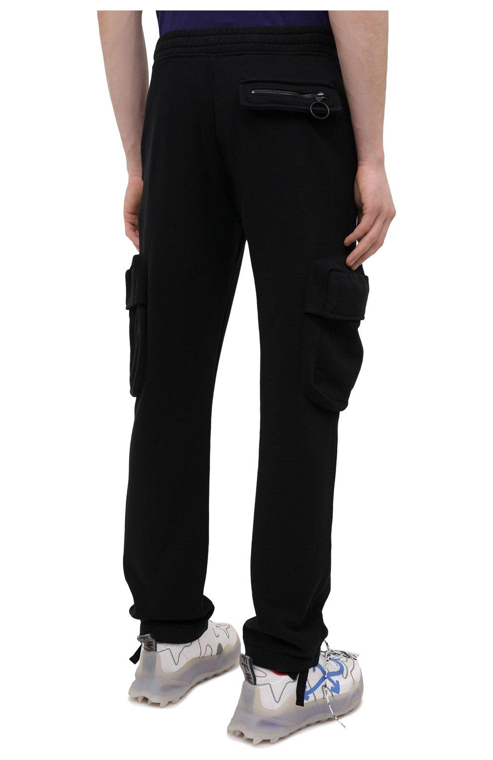 Мужские хлопковые брюки-карго OFF-WHITE черного цвета, арт. 0MCH036R21FLE001 | Фото 4 (Силуэт М (брюки): Карго; Длина (брюки, джинсы): Стандартные; Случай: Повседневный; Стили: Гранж; Материал внешний: Хлопок)