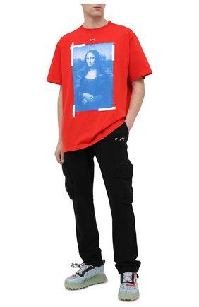 Мужская хлопковая футболка OFF-WHITE красного цвета, арт. 0MAA038R21JER001   Фото 2