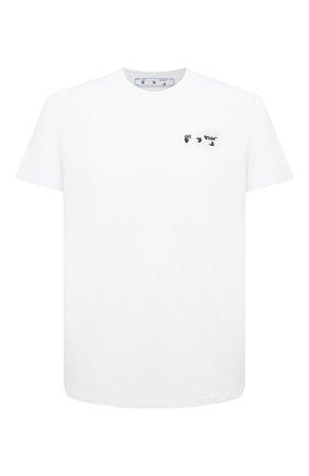Мужская хлопковая футболка OFF-WHITE белого цвета, арт. 0MAA027R21JER001   Фото 1