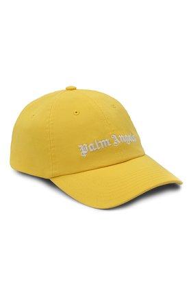Мужской хлопковая бейсболка PALM ANGELS желтого цвета, арт. PMLB003R21FAB0021801 | Фото 1