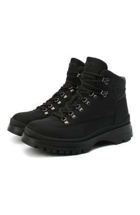 Мужские ботинки PRADA черного цвета, арт. 2TE171-1YFL-F0002-G000   Фото 1