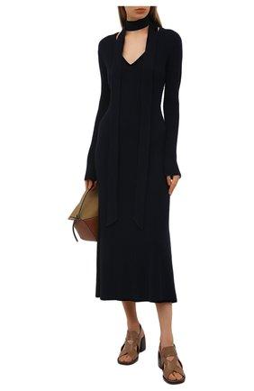 Женское платье из шерсти и кашемира CHLOÉ темно-синего цвета, арт. CHC20WMR70780   Фото 2