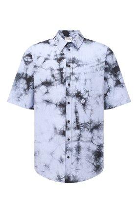 Мужская хлопковая рубашка MARCELO BURLON голубого цвета, арт. CMGA070R21FAB001 | Фото 1 (Рукава: Короткие; Стили: Гранж; Принт: С принтом; Материал внешний: Хлопок; Случай: Повседневный; Длина (для топов): Стандартные; Воротник: Кент)