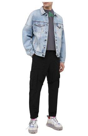 Мужская хлопковая футболка PALM ANGELS серого цвета, арт. PMAA001R21JER0081055 | Фото 2