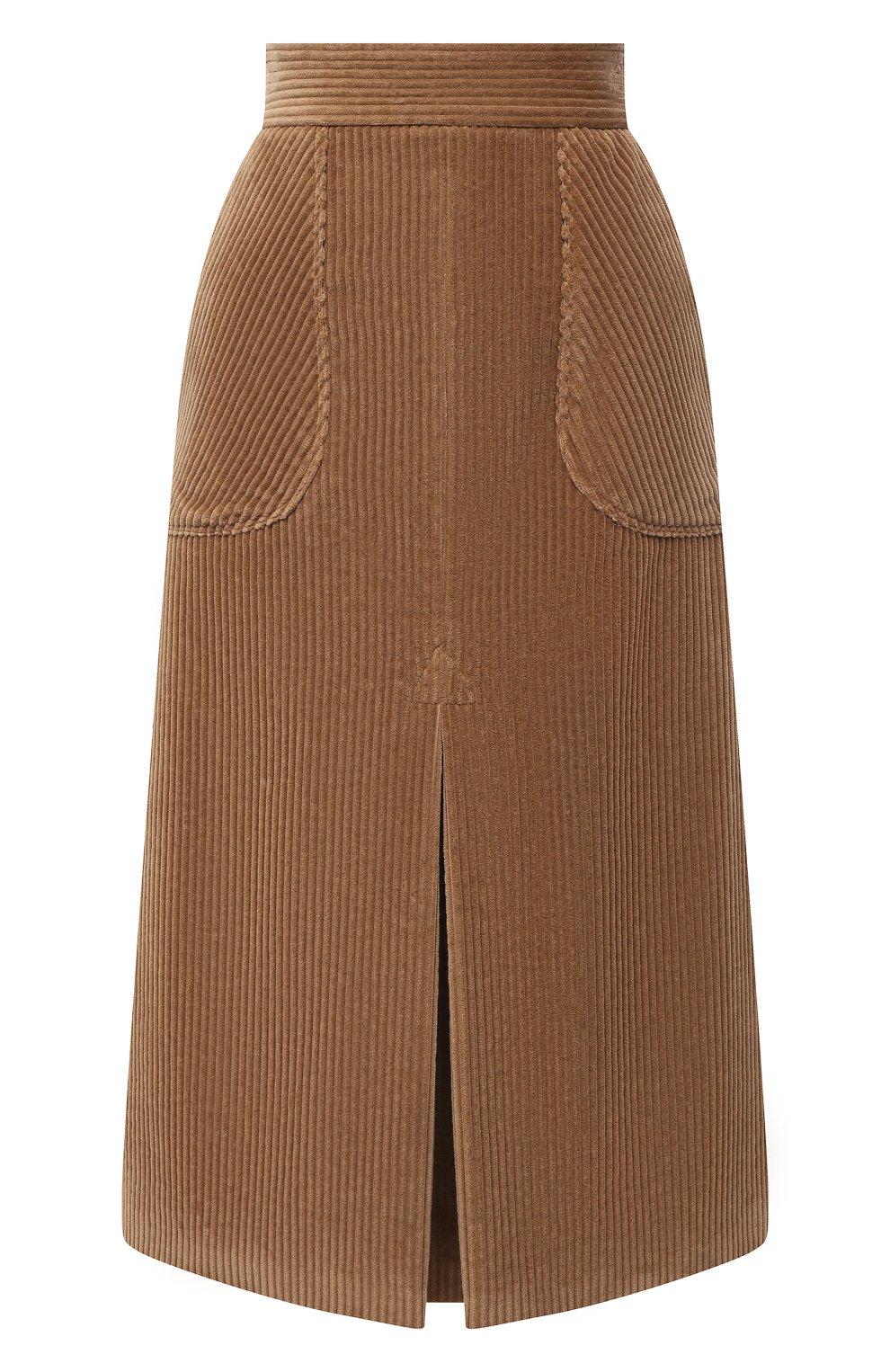 Женская хлопковая юбка DOLCE & GABBANA светло-коричневого цвета, арт. F4BX3T/FUWC5 | Фото 1