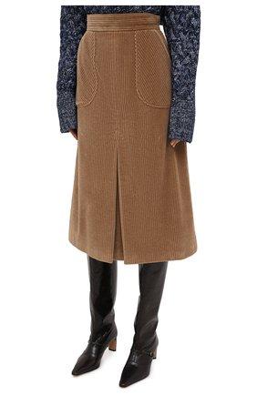 Женская хлопковая юбка DOLCE & GABBANA светло-коричневого цвета, арт. F4BX3T/FUWC5 | Фото 3
