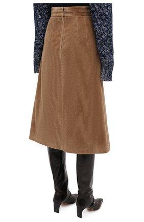 Женская хлопковая юбка DOLCE & GABBANA светло-коричневого цвета, арт. F4BX3T/FUWC5 | Фото 4