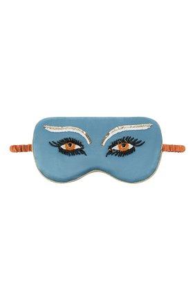 Женские шелковая маска для сна OLIVIA VON HALLE голубого цвета, арт. PS2160 | Фото 1 (Материал внешний: Шелк)