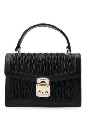 Женская сумка miu confidental MIU MIU черного цвета, арт. 5BA094-N88-F0002-OOO | Фото 1 (Сумки-технические: Сумки через плечо, Сумки top-handle; Материал: Натуральная кожа; Размер: small; Ремень/цепочка: На ремешке)