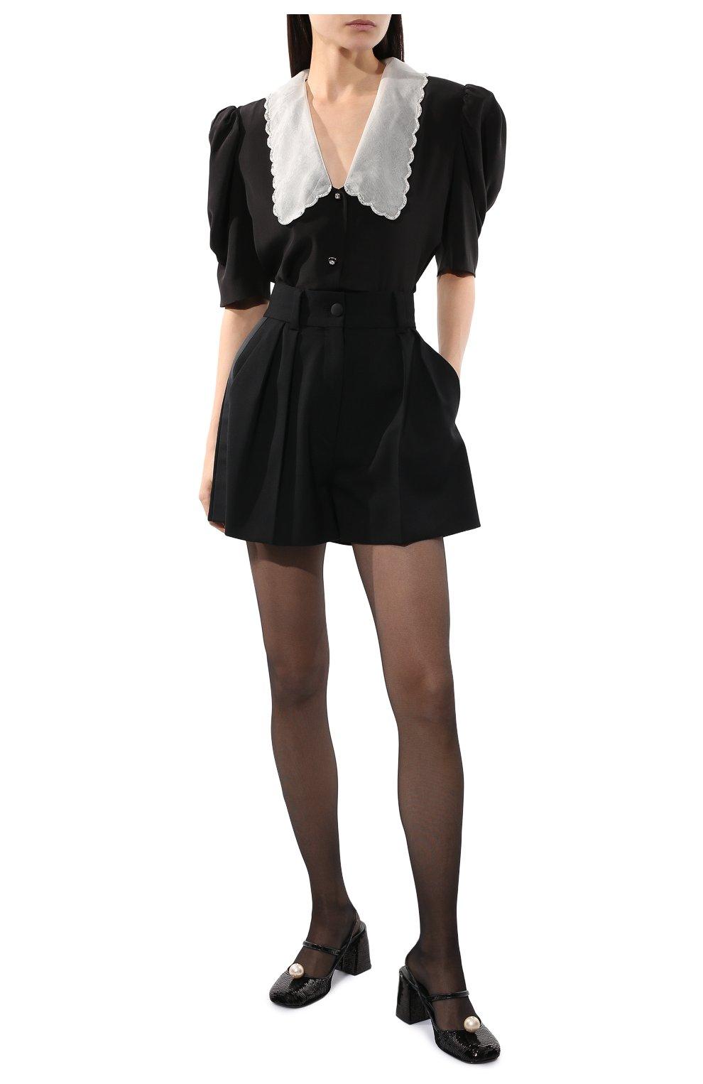 Женские шерстяные шорты MIU MIU черного цвета, арт. MP1425-1R1-F0002 | Фото 2 (Женское Кросс-КТ: Шорты-одежда; Материал внешний: Шерсть; Длина Ж (юбки, платья, шорты): Мини; Кросс-КТ: Широкие; Стили: Классический)