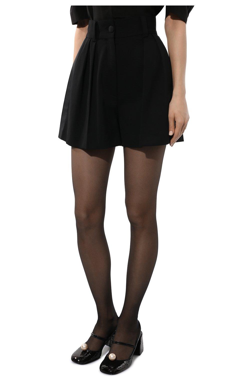 Женские шерстяные шорты MIU MIU черного цвета, арт. MP1425-1R1-F0002 | Фото 3 (Женское Кросс-КТ: Шорты-одежда; Материал внешний: Шерсть; Длина Ж (юбки, платья, шорты): Мини; Кросс-КТ: Широкие; Стили: Классический)