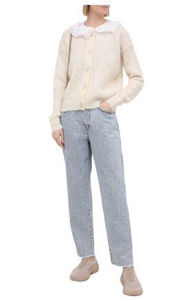 Женские текстильные слипоны MIU MIU кремвого цвета, арт. 5S375D-3KP4-F0A48-010 | Фото 2