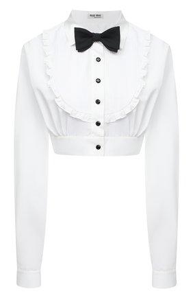 Женская хлопковая блузка MIU MIU белого цвета, арт. MK1509-1YDM-F0009 | Фото 1 (Материал внешний: Хлопок; Женское Кросс-КТ: Блуза-одежда; Принт: Без принта; Рукава: Длинные; Длина (для топов): Укороченные; Стили: Романтичный)