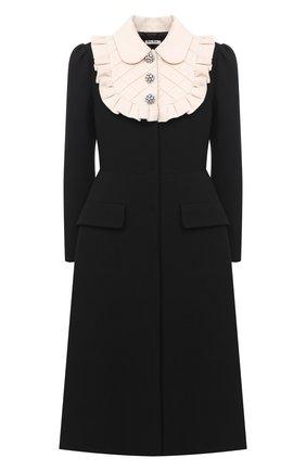 Женское шерстяное пальто MIU MIU черного цвета, арт. MS1751-1BEW-F0002   Фото 1