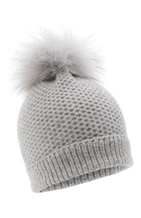 Детского кашемировая шапка GIORGETTI CASHMERE светло-серого цвета, арт. MB1695/14A | Фото 1 (Материал: Шерсть, Кашемир)