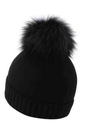Детского кашемировая шапка GIORGETTI CASHMERE черного цвета, арт. MB1693/4A | Фото 2 (Материал: Шерсть, Кашемир)