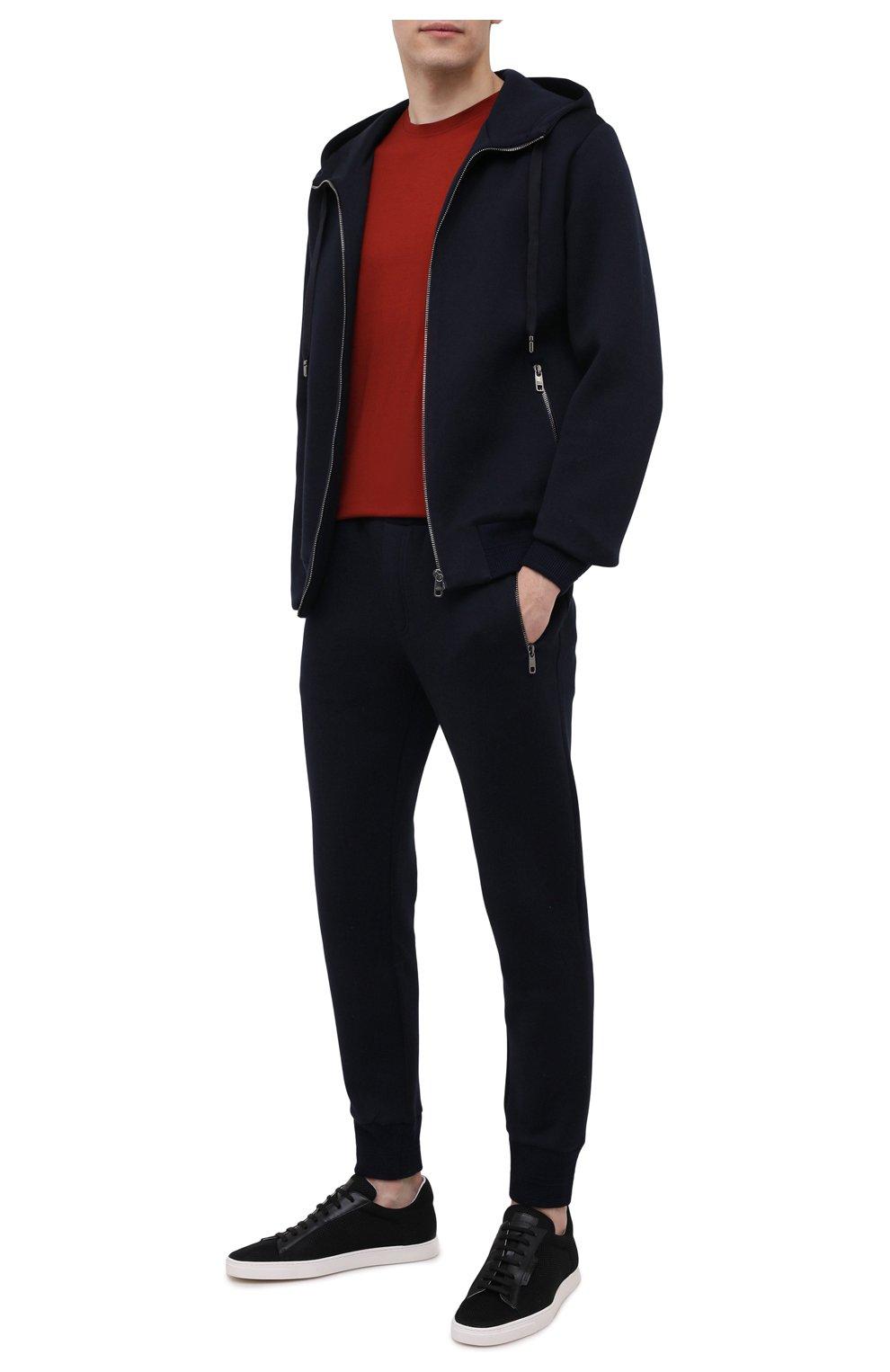 Мужские текстильные кеды GIORGIO ARMANI черного цвета, арт. X2X147/XM842   Фото 2