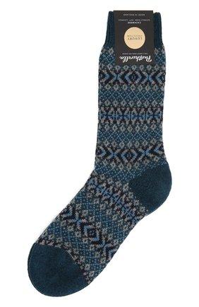 Мужские кашемировые носки PANTHERELLA бирюзового цвета, арт. 57004 | Фото 1
