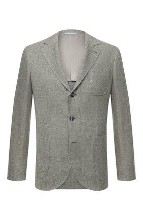 Мужской пиджак изо льна и шерсти BRUNELLO CUCINELLI хаки цвета, арт. MD4957BND | Фото 1