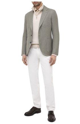Мужской пиджак изо льна и шерсти BRUNELLO CUCINELLI хаки цвета, арт. MD4957BND | Фото 2