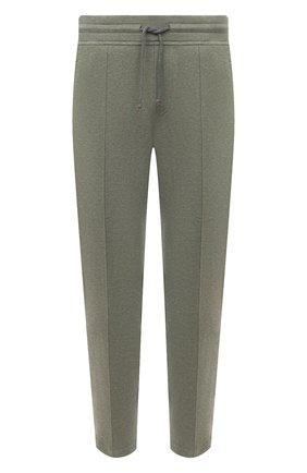 Мужские хлопковые брюки BRUNELLO CUCINELLI хаки цвета, арт. M0T313212G | Фото 1 (Материал внешний: Хлопок; Случай: Повседневный; Мужское Кросс-КТ: Брюки-трикотаж; Стили: Кэжуэл; Длина (брюки, джинсы): Укороченные)