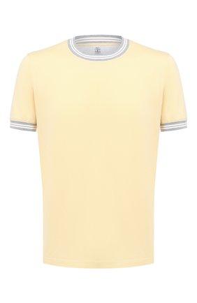 Мужская хлопковая футболка BRUNELLO CUCINELLI желтого цвета, арт. M0T611620 | Фото 1 (Рукава: Короткие; Длина (для топов): Стандартные; Материал внешний: Хлопок; Стили: Кэжуэл; Принт: Без принта)