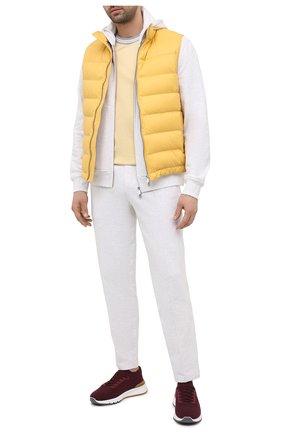 Мужская хлопковая футболка BRUNELLO CUCINELLI желтого цвета, арт. M0T611620 | Фото 2 (Рукава: Короткие; Длина (для топов): Стандартные; Материал внешний: Хлопок; Стили: Кэжуэл; Принт: Без принта)