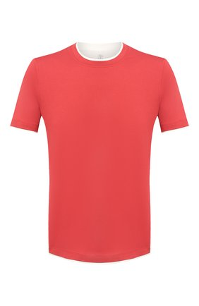 Мужская хлопковая футболка BRUNELLO CUCINELLI красного цвета, арт. M0T617427 | Фото 1