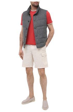 Мужская хлопковая футболка BRUNELLO CUCINELLI красного цвета, арт. M0T617427 | Фото 2 (Материал внешний: Хлопок; Длина (для топов): Стандартные; Стили: Кэжуэл; Рукава: Короткие; Принт: Без принта)