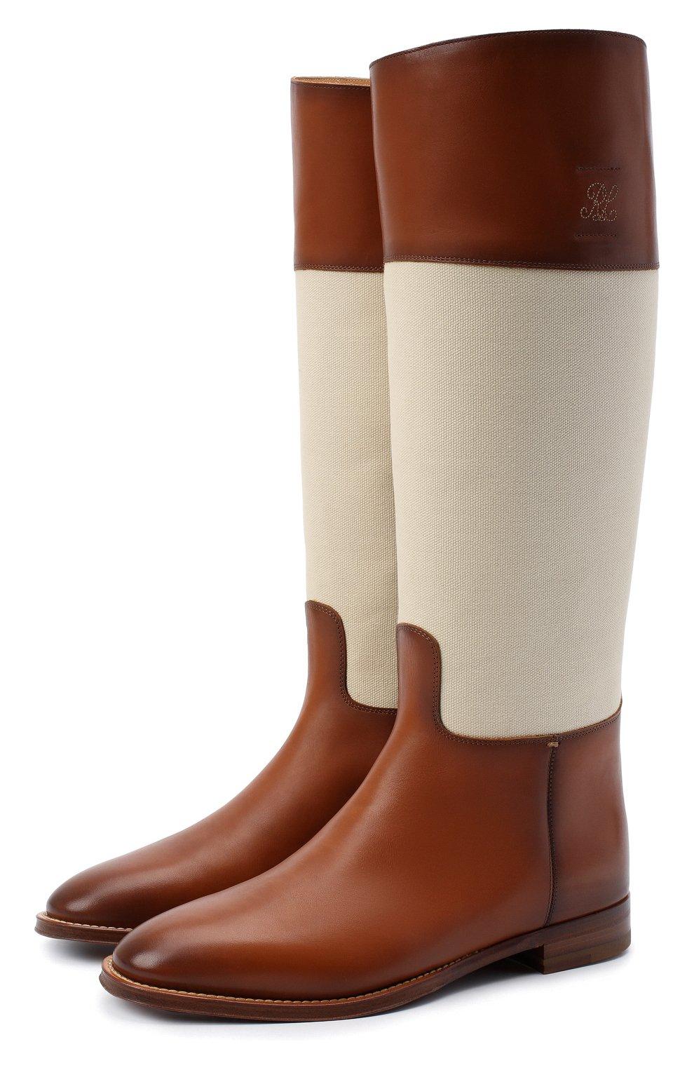 Женские кожаные сапоги RALPH LAUREN коричневого цвета, арт. 800819002   Фото 1