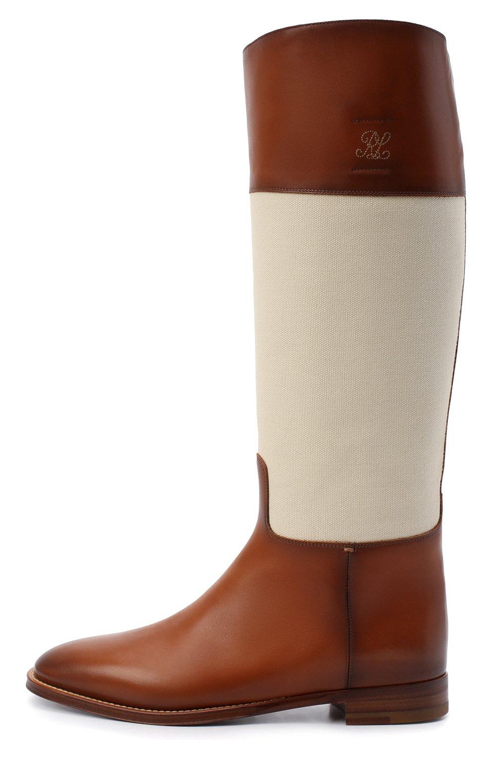 Женские кожаные сапоги RALPH LAUREN коричневого цвета, арт. 800819002   Фото 3