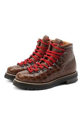 Женские кожаные ботинки RALPH LAUREN коричневого цвета, арт. 800840422/AMIS | Фото 1
